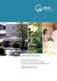 GRN•Klinik Sinsheim Berichtsjahr 2010