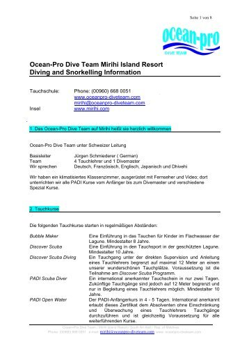 Ocean-Pro Dive Team Mirihi Island Resort Diving and Snorkelling ...