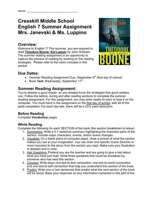 Grade 7 English Summer Reading Project, 2013-14 (pdf)