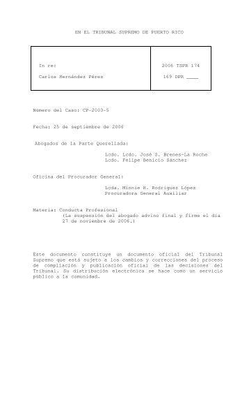 2006 TSPR 174 - Rama Judicial de Puerto Rico