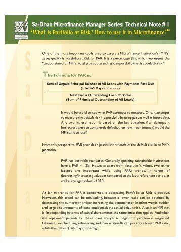 Portfolio at Risk - Sa-Dhan