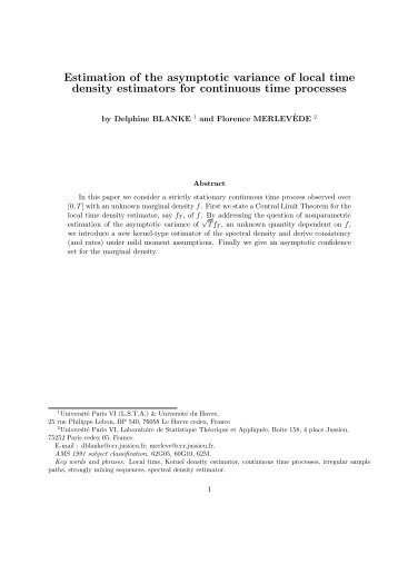 Estimation of the asymptotic variance of local time density estimators ...
