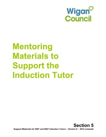 Mentoring Materials to Support the Induction Tutor - Wigan Council