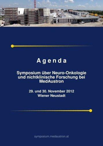 Agenda MedAustron Symposium - beim TFZ Wiener Neustadt