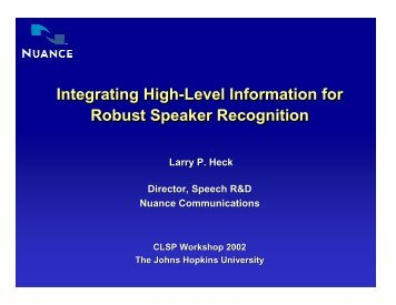 slides from Larry Heck's lecture - Johns Hopkins University