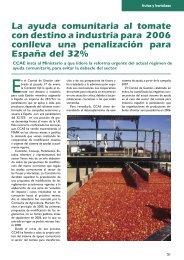 La ayuda comunitaria al tomate con destino a industria para 2006 ...