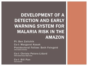 development of a detection and early warning system for malaria ...