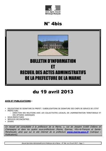 Recueil 4bis-2013 du 19 avril - Préfecture de la Marne