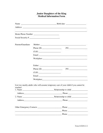Required Information for Raleigh, NC Trip Student Medical Form