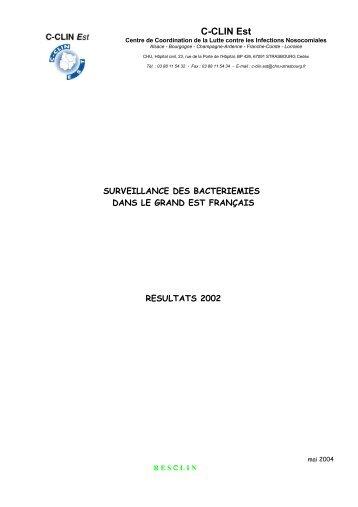 Rapport Bactériémies CClin Est : résultats 2002