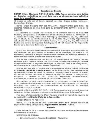 NORMA Oficial Mexicana NOM-019-NUCL-1995, Requerimientos ...