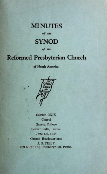 Reformed Presbyterian Minutes of Synod 1948
