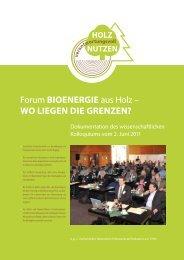Forum BIOENERGIE aus Holz – WO LIEGEN DIE GRENZEN?