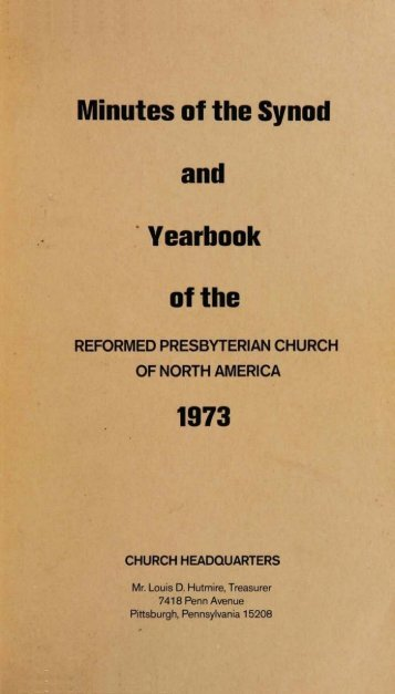 Reformed Presbyterian Minutes of Synod 1973 - Rparchives.org