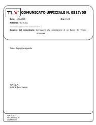 COMUNICATO UFFICIALE N. 0517/05 - TLX