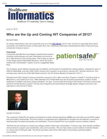 Who are the Up and Coming HIT Companies of 2012? - Psilos