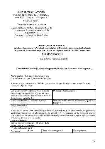 note de gestion du régime indemnitaire 2012 - SUP-Equip