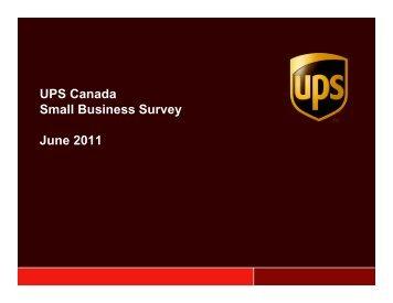 UPS Canada Small Business Survey June 2011 - UPS Pressroom