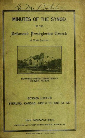 Reformed Presbyterian Minutes of Synod 1917 - Rparchives.org