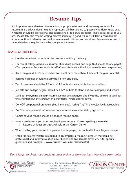Resume Tips College Of Business
