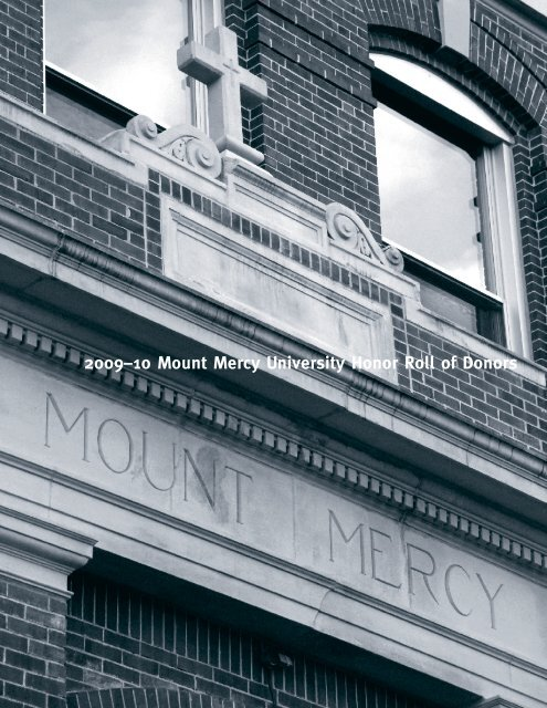 2009–10 Mount Mercy University Honor Roll of Donors
