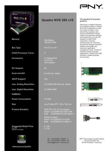 Quadro NVS 295 x16 - PNY