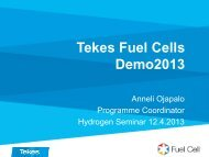 Review to ongoing hydrogen projects, hydrogen safety ... - Tekes