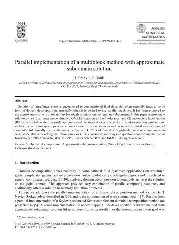Parallel implementation of a multiblock method with ... - CiteSeerX