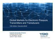 Global Markets for Electronic Pressure Transmitters ... - VDC Research