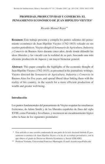 EL PENSAMIENTO ECONÓMICO DE JUAN HIPÓLITO ... - eseade