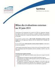 Synthèse Bilan des évaluations externes au 30 juin 2011 - Anesm