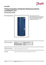 Trinkwasserspeicher und Speicher-Trinkwassererwärmer ... - Danfoss