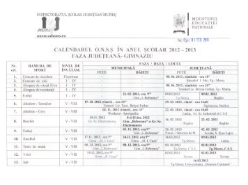 Calendar ONSS faza judeteana gimnaziu