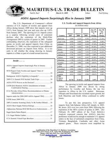 March Trade Bulletin - Mauritius. US Business Association, Inc.