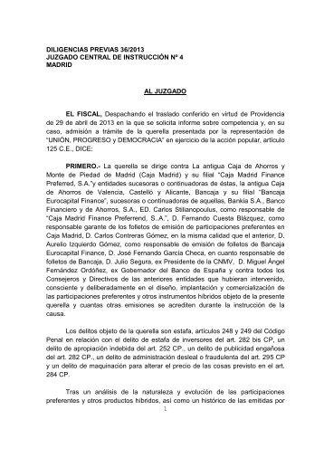 1 DILIGENCIAS PREVIAS 36/2013 JUZGADO CENTRAL DE ...