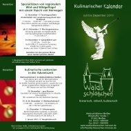 Kulinarischer Kalender - Waldschlösschen Meissen