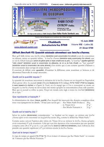 Volume VII - lettre n°31 - Association Deborah Guitel