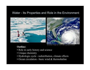 Water - Its Properties and Role in the Environment