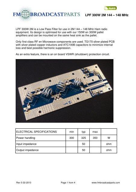 LPF 300W 2M 144 – 148 MHz