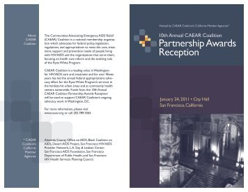 Partnership Awards Reception program - CAEAR Coalition