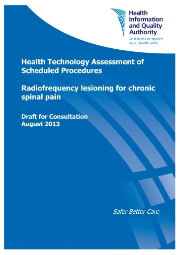 Radiofrequency lesioning for chronic spinal pain - hiqa.ie