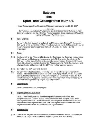 Satzung des Sport- und Gesangverein Murr e.V. - SGV Murr eV