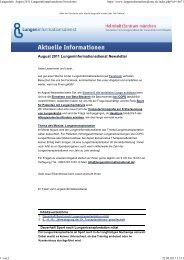 Lungeninfo: August 2011 Lungeninformationsdienst Newsletter