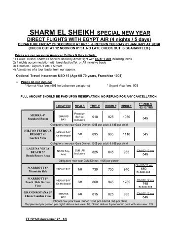 SHARM EL SHEIKH SPECIAL NEW YEAR DIRECT ... - Tania Travel