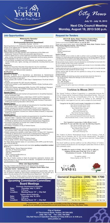 News for the week of July 10 to July 16, 2013 - City of Yorkton