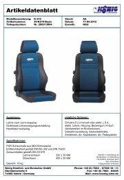 Artikeldatenblatt K 210 - König Komfort- und Rennsitze GmbH