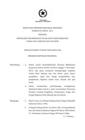 peraturan presiden republik indonesia nomor 95 tahun 2012 ...