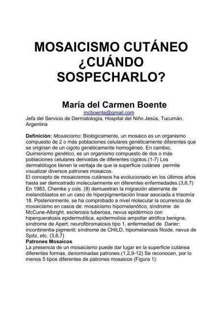 mosaicismo cutáneo ¿cuándo sospecharlo? - Antonio Rondón Lugo