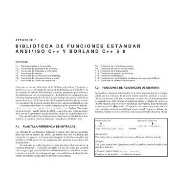 F. Biblioteca de funciones estándar ANSI/ISO C++