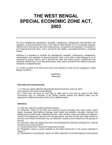 the special economic zone act of The special economic zones regime part i – tax concessions the special economic zones (sez) act, 2016 came into effect on august 1, 2016.